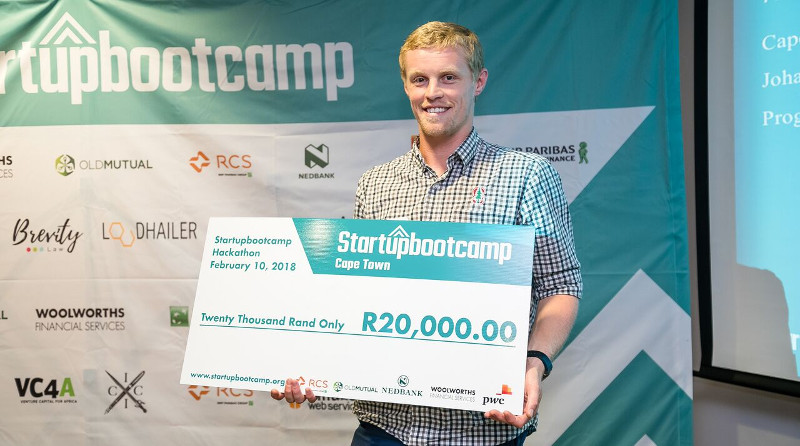 Thomas Bartleman from TinyLoop, the winner of the Startupbootcamp Cape Town water-saving Hackathon