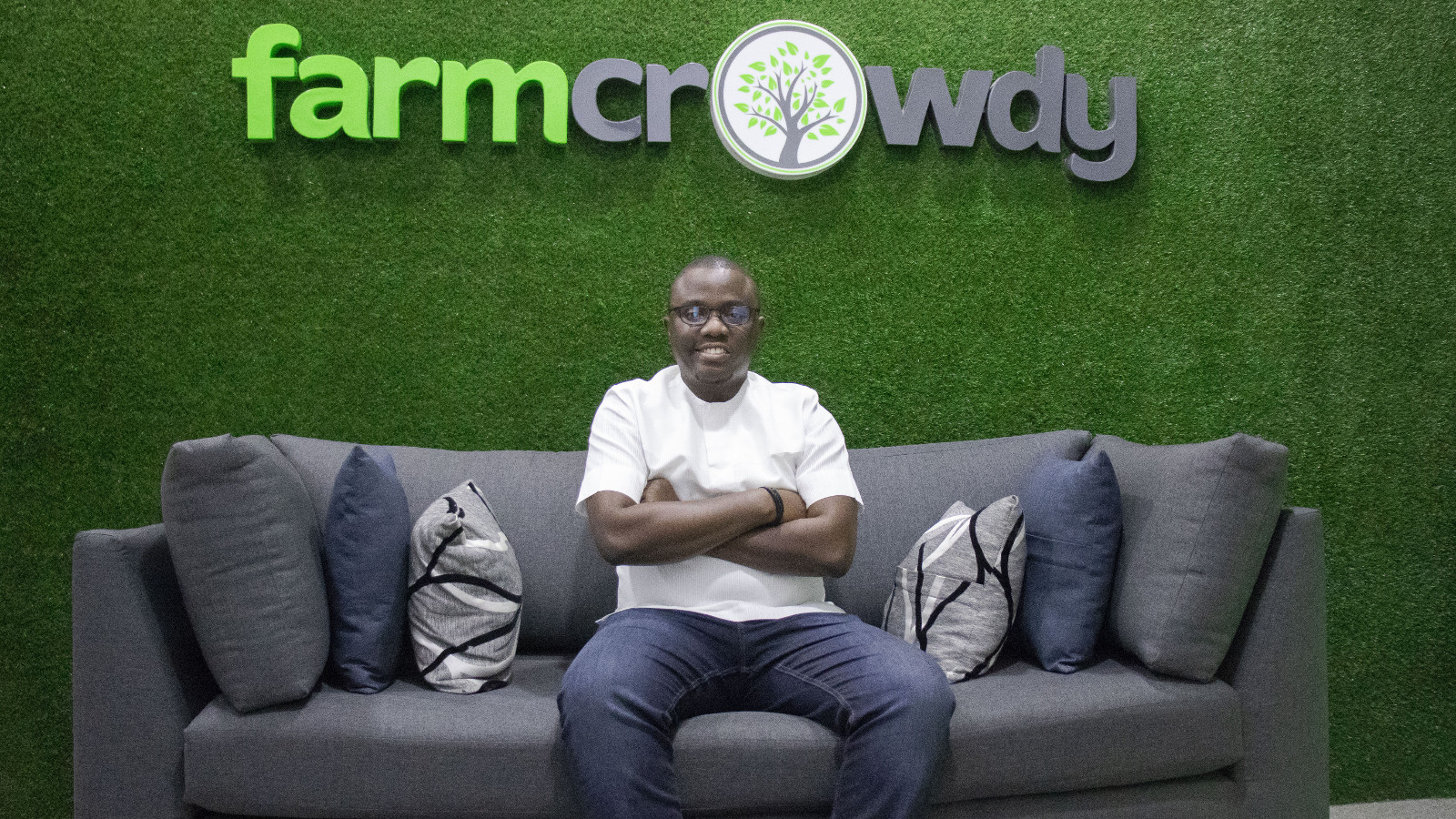 Featured image: Farmcrowdy CEO Onyeka Akumah at the startup's Lagos office (Supplied)