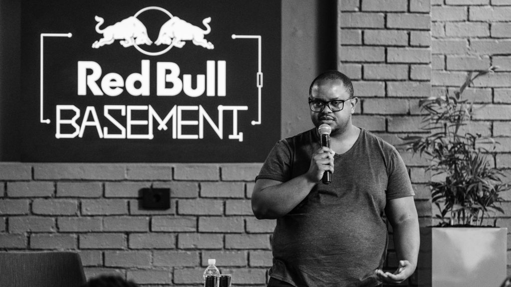 Featured image: Red Bull Basement brand manager Mixo Ngoveni at last month's Reb Bull Basement Hatch event in Johannesburg (Supplied)