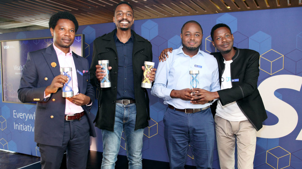 Featured image (from left to right): Winners of Visa's Everywhere Initiative in Sub Saharan Africa, Jerry Oche founder and CEO of Zowasel, Eric Thimba, co-founder and CEO of Mookh Africa and Mofehintolu Olaogun, CEO of CredPal (Supplied)