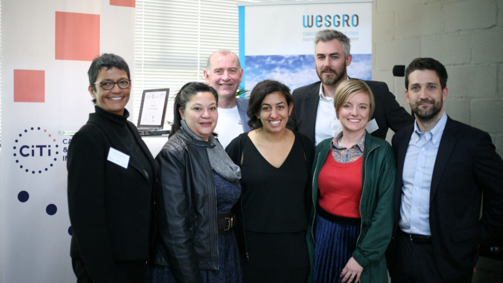 Featured image, from left to right: Western Cape Government Economic Development deputy director general Jo-Ann Johnston, Allan Gray Orbis Foundation's Karen Gabriels, CiTi CEO Ian Merrington, Endeavor Insight's Maha AbdelAzim, Wesgro CEO Tim Harris, CiTi head of innovation Michelle Matthews, Endeavor Insight director Rhett Morris (supplied)
