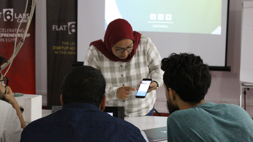 Featured image: Cheefa CEO and founder Doaa Aref pitching at the Cairo DEMO Africa event on 11 July (Supplied)