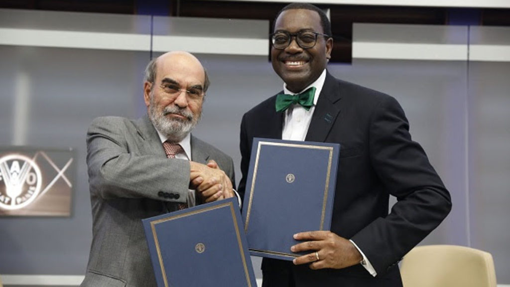 Featured image (left to right): FAO director general José Graziano da Silva and African Development Bank president Akinwumi Adesina at the FAO headquarters in Rome, Italy yesterday (27 August) (Supplied)