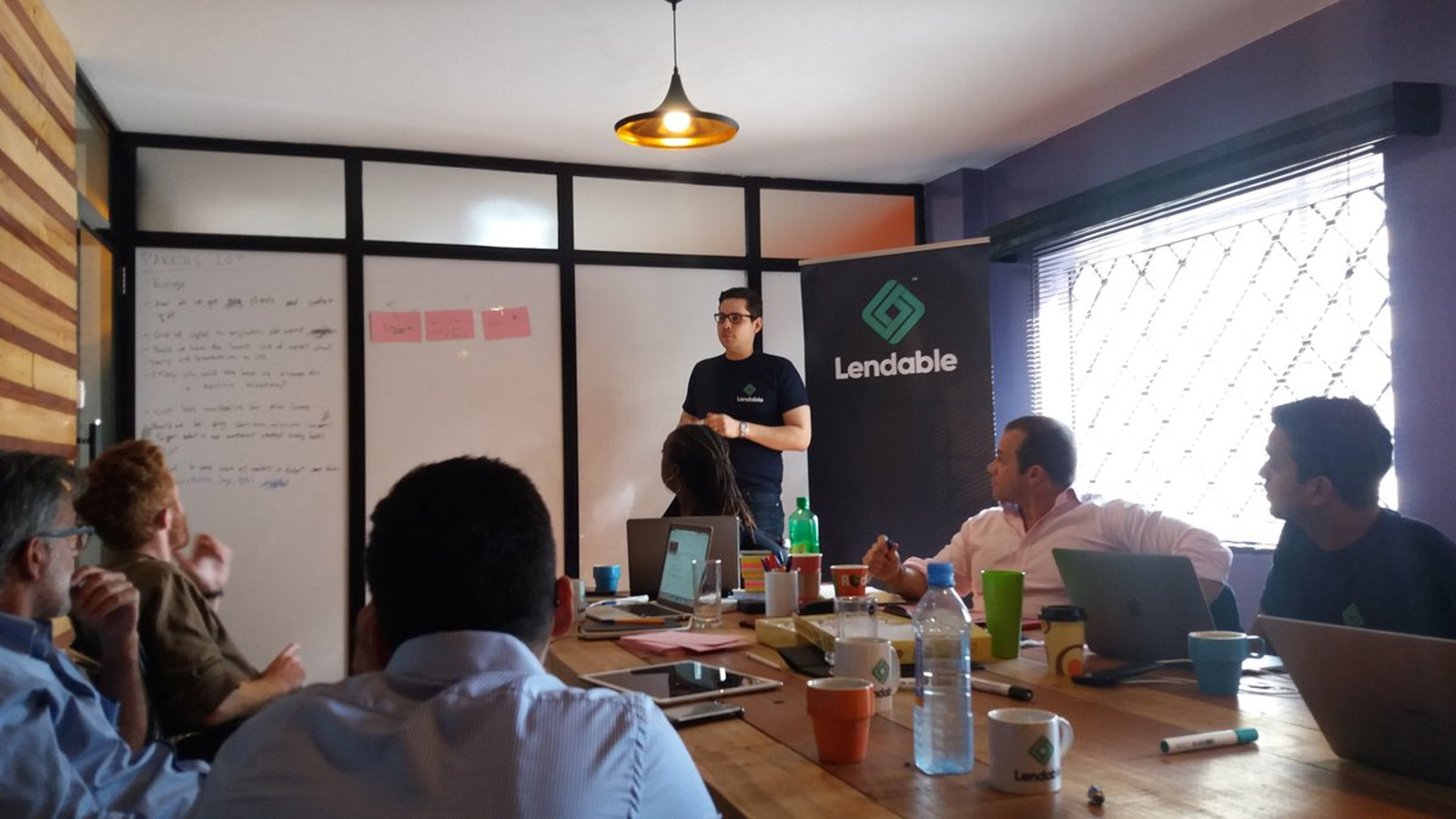 Featured image: Lendable CEO and co-founder Daniel Goldfarb in a board meeting last year (Daniel Goldfarb via Twitter)