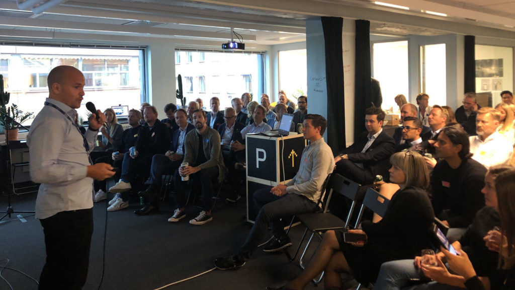 Featured image: Katapult Accelerator managing partner and co-founder Haakon Brunell speaking at the accelerator's official launch of its third cohort last week Monday (Katapult Accelerator via Twitter)
