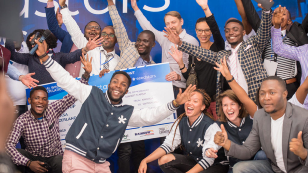 Featured image: Labes Key team celebrating their Seedstars Kinshasa win with the Seedstars World team and other attendees on Friday 21 September in Kinshasa (Supplied)