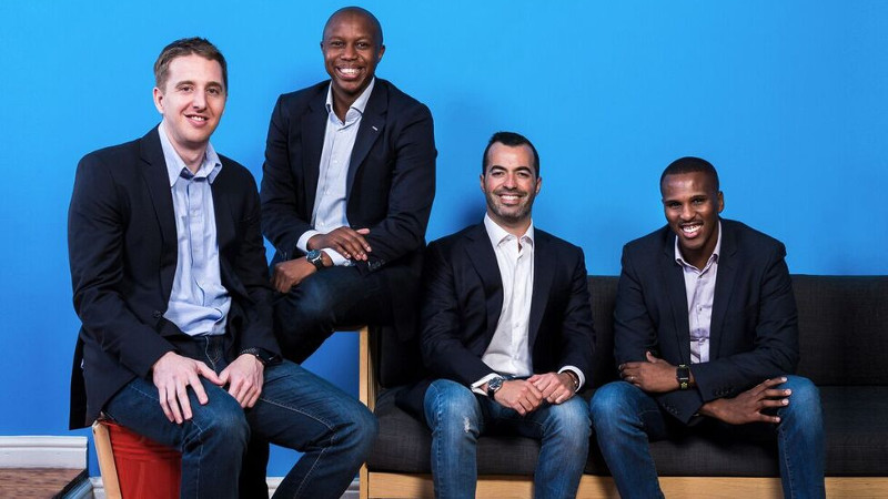 Featured image: From left to right, Yoco founders Bradley Wattrus, Katlego Maphai, Carl Wazen and Lungisa Matshoba (Supplied)