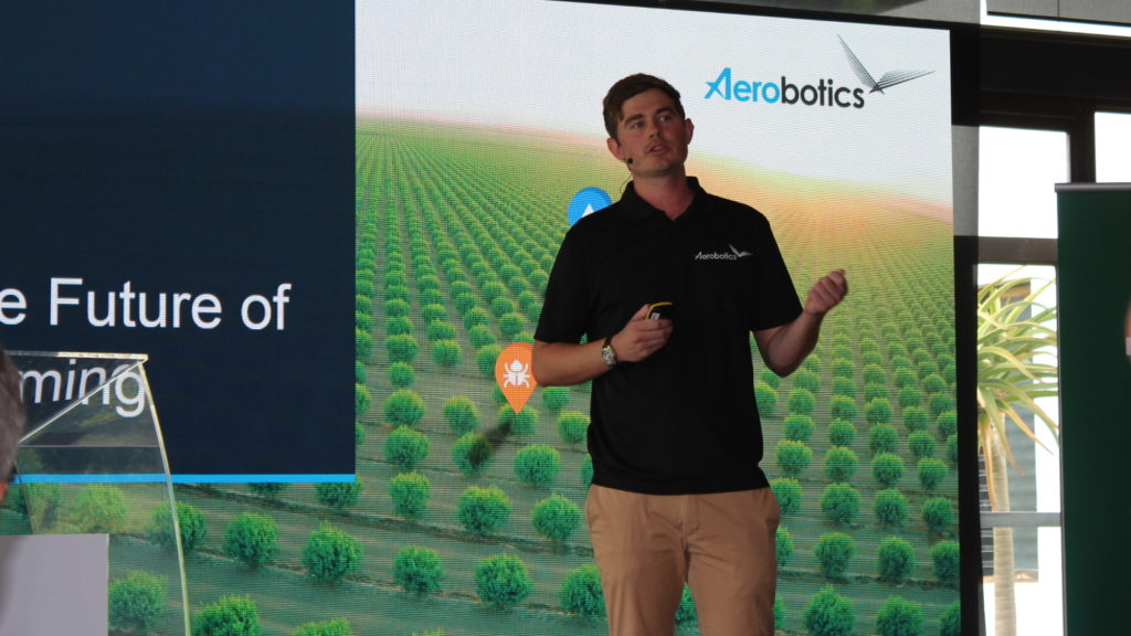 Featured image: Aerobotics CEO and co-founder James Paterson speaking at the Future of Farming event yesterday (11 October) in Franschhoek where the startup launched five new precision agriculture products