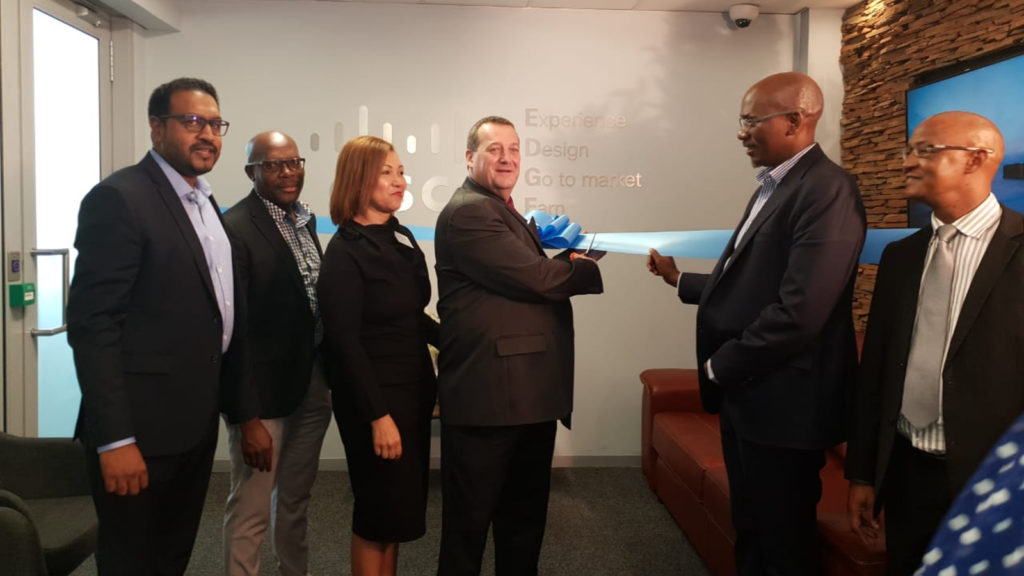 Featured image: The official ribbon opening of the Cisco Edge Incubation Centre at the Innovation Hub with Clayton Naidoo Cisco SA GM, Charles Mabuza DTPS; Charmaine Houvet Cisco public policy director; Adv Pieter Holl Acting CEO of the Innovation Hub; Ramateu Monyokolo Board Member and Patrick Krappie executive manager TIA