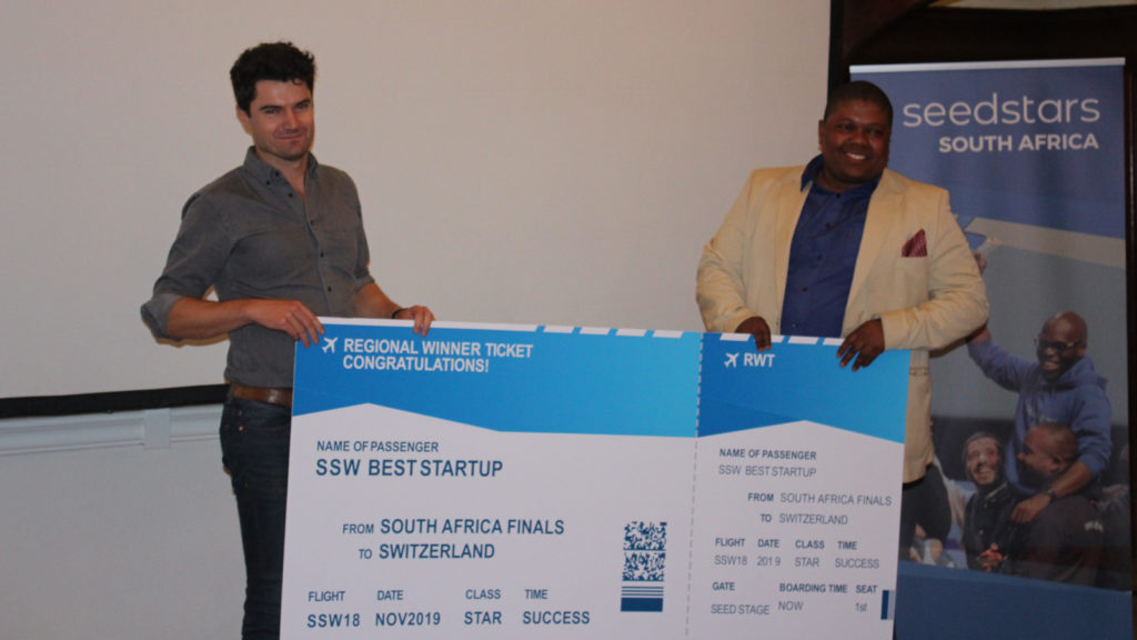 Featured image (left to right): Franc Group CEO Thomas Brennan and Hybr partner Vuyisa Qabaka at the Seedstars SA finals held at Seedspace Cape Town