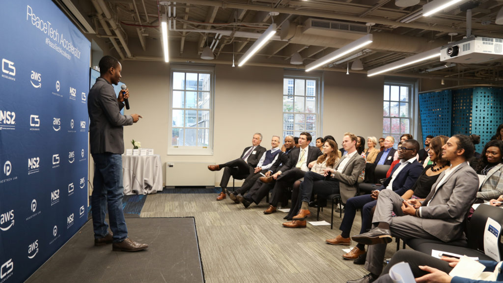Featured image; Devless founder and CEO Edwin Tsatsu at the PeaceTech Accelerator in Washington DC, in the US (supplied)