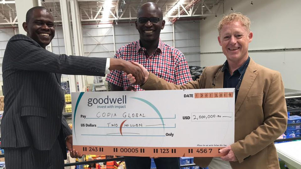 Featured image, left to right: Goodwell Investment senior investment manager Joel Wanjohi, Copia CFO Dominic Dimba, and Copia CEO Tim Steel (Supplied)