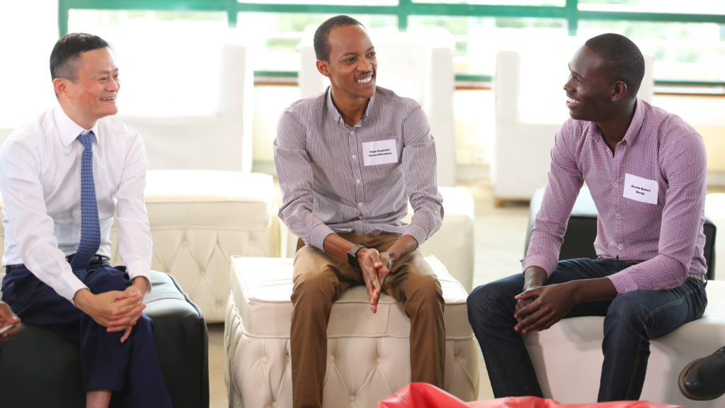 Featured image, left to right: Alibaba Group Chairman Jack Ma speaks with Eneza Education co-founder Kago Kagichiri and Herdy CEO Derrick Muturi at Nailab during his maiden visit to Africa last year.