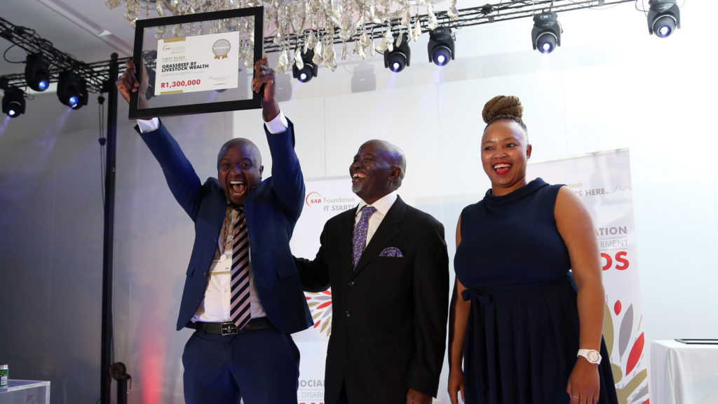 Featured image, left to right: SAB Foundation 2017 Social Innovation Award winner Livestock Wealth founder Ntuthuko Shezi, Moss Ngoasheng and Ntandokazi Nodada (Supplied)