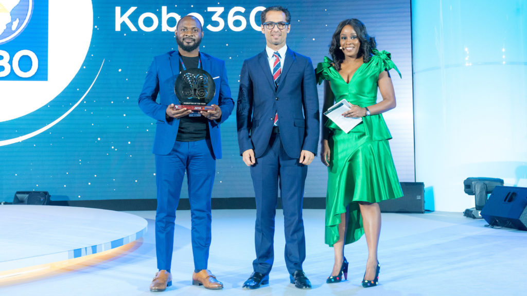 Featured image: Kobo360 cofounder and CTO Ife Oyedele accepting the Disrupter of the Year Award at the 2019 Africa CEO Forum in Kigali, Rwanda (Supplied)