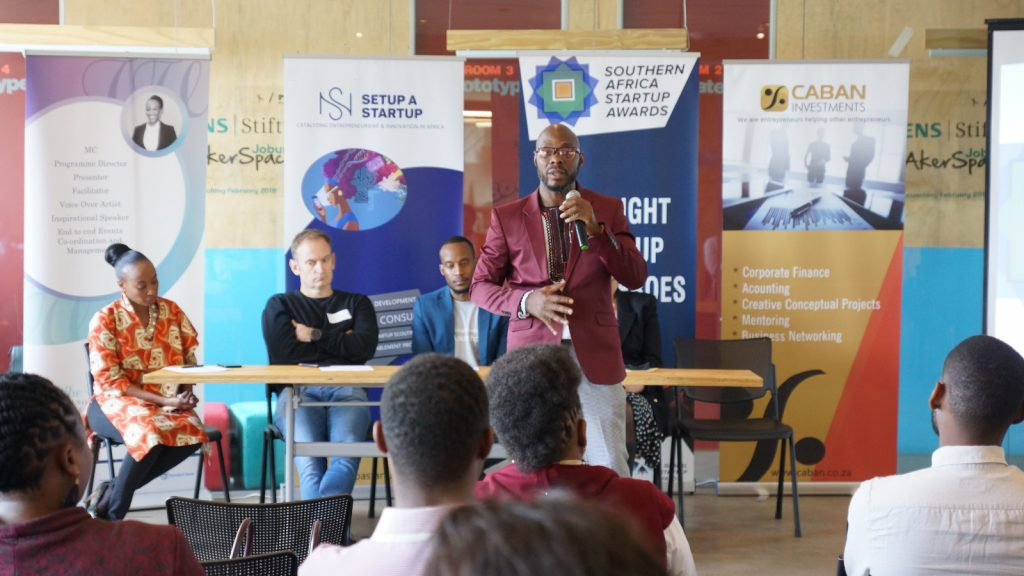 Featured image: Setup A Startup CEO and Southern African Startup Awards founder and CEO McKevin Ayaba speaking at the launch of the 2019 Southern Africa Startup Awards (Supplied)