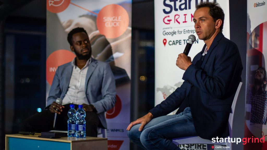 Featured image, left to right: Startup Grind Cape Town director Sandras Phiri and Project Isizwe founder Alan Knott-Craig (Robert Cable)