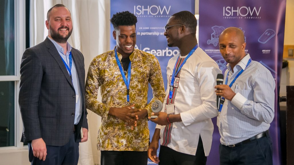 Featured image, left to right: ASME senior programme manager James Creel, Sesi Technologies' Peter O'Hara Adu and Isaac Senu Sesi receive an ASME ISHOW 3D-printed trophy fromVillgro Kenya CEO and co-founder Robert Karanja (Supplied)