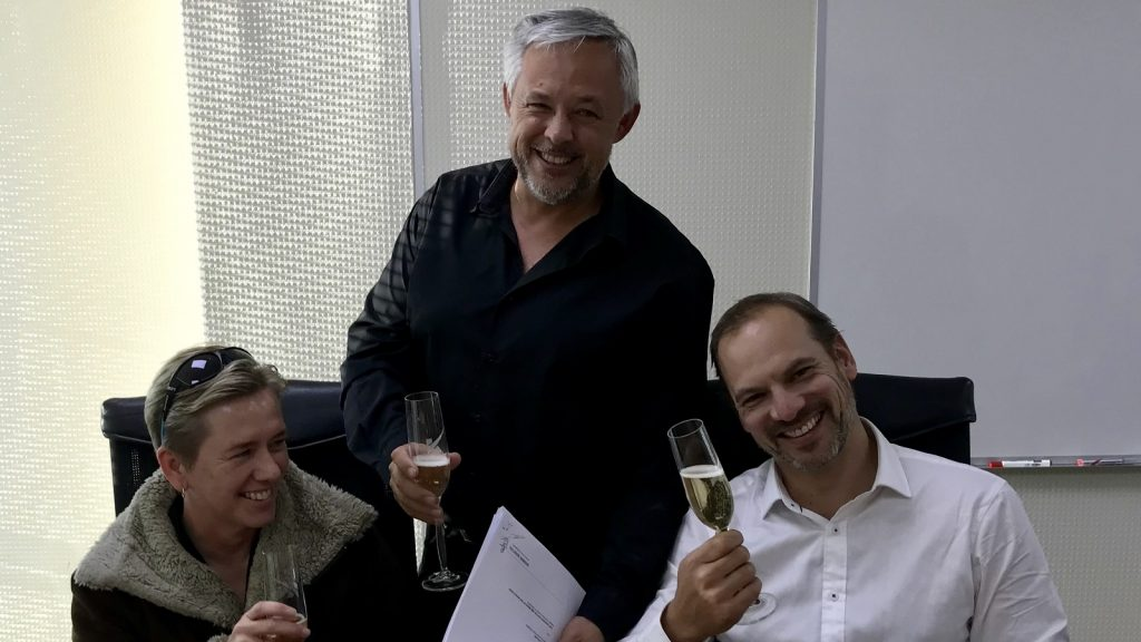 Delia and Craig Collins and Keet van Zyl (left to right) - Supplied