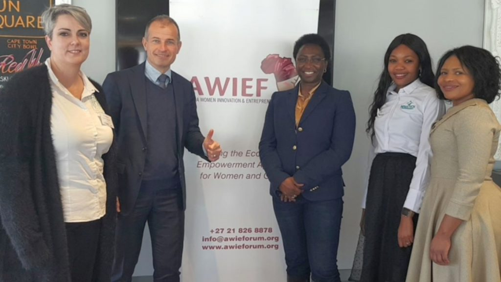 Featured image, left to right: Sporatech head Karin Jacobs, Dutch Consul General Sebastiaan Messerschmidt, Awief founder and CEO Irene Ochem, Nematech's Tiisetso Lephoto and Vida Pharmaceuticals' Patricia Mathivha (Awief via Facebook)