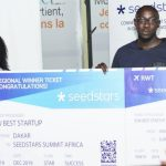 Featured image: Seedstars Dakar winner Afrikamart team members including Afrikamart founder and COO Albert Diouf pitching at (Seedstars via Twitter)