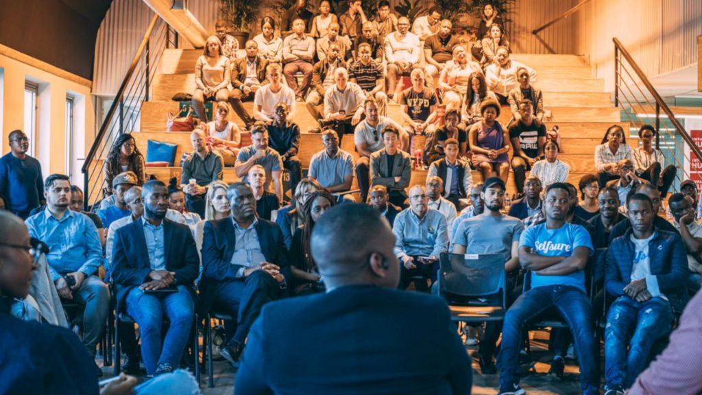 Featured image: Audience and startup representatives at the AfricArena Tour Johannesburg event (Supplied)
