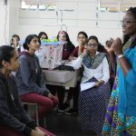 Featured image: Junior Achievement Africa CEO Elizabeth Bintliff speaking to young students of her organisation's entrepreneurship programmes in Mauritius (Supplied)