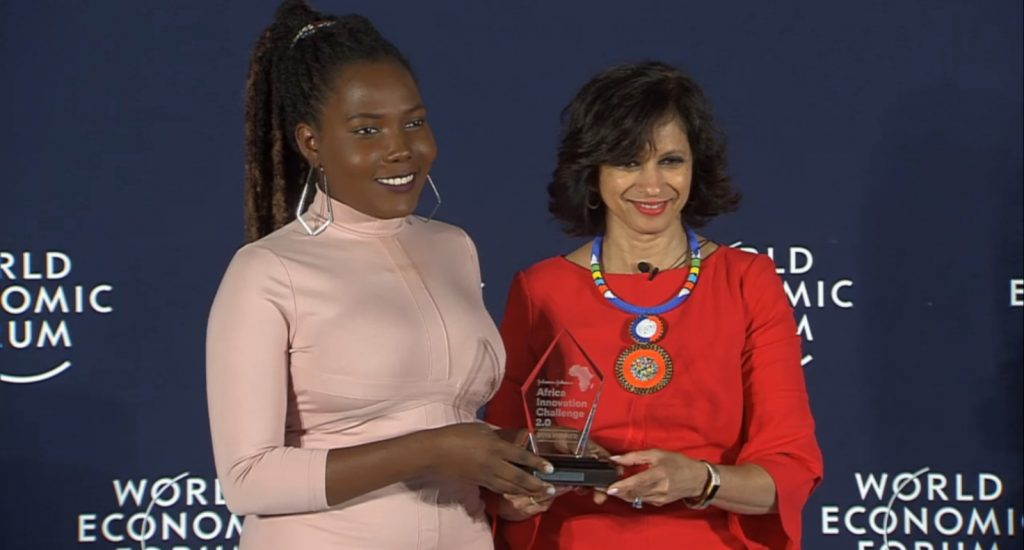 Featured image, left to right: Uganics founder Joan Nalubega and Johnson & Johnson vice president innovation global public health and science policy communication Seema Kumar (Screenshot)