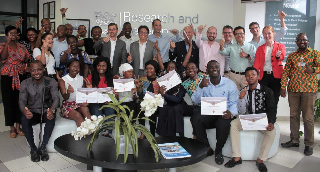 Featured image: Nestlé team with members of the winning startups and students (Supplied)