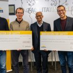 Featured image, from left to right: DeepData co-founder, CEO and CTO Jasper Horell, DeepData chief commercial officer Henty Waker Chief Commercial Officer, Santam chief marketing officer Mokaedi Dilotsotlhe and Cloudline founder Spencer Horne (LaunchLab)