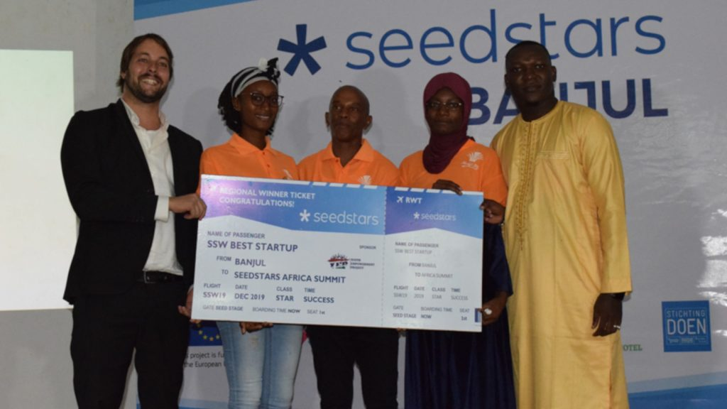 Featured image: Members of Nadji.Bi Gambia team at Seedstars Banjul (Supplied)
