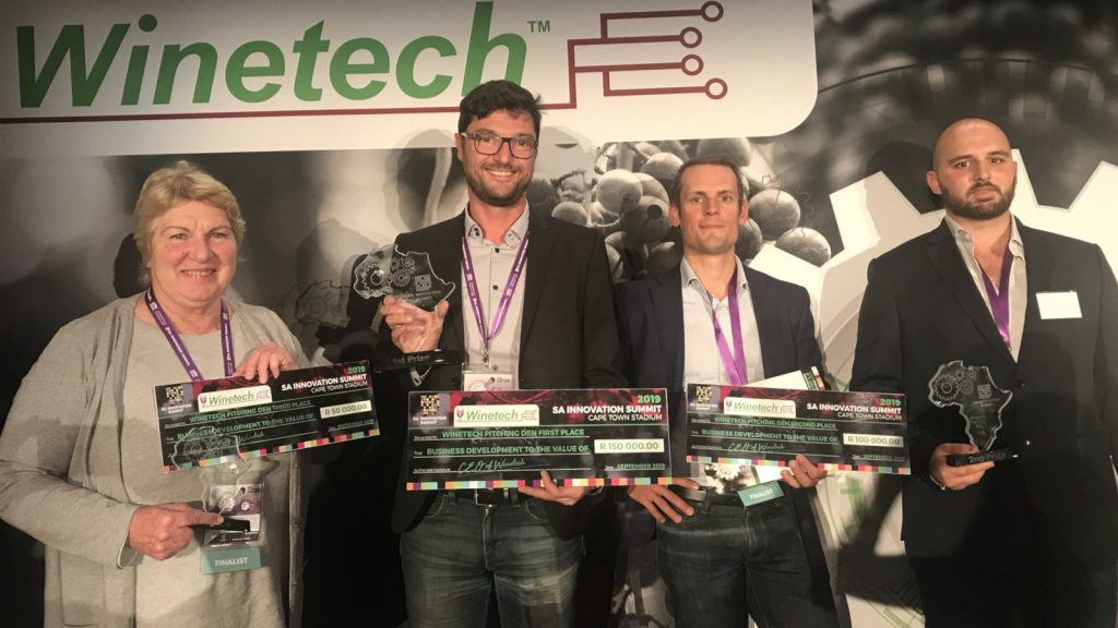 Featured image, left to right: Nemabio's Sheila Storey, Vegetal Signals' Fabian LeBourdiec and UV Boosting's Yves Matton 2019 SA Winetech Pitching Den competition winners (Winetech via Twitter)