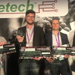 Featured image, left to right: Nemabio's Sheila Storey, Vegetal Signals' Fabian Le Bourdiec and UV Boosting's Yves Matton 2019 SA Winetech Pitching Den competition winners (Winetech via Twitter)
