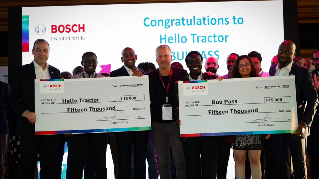 Featured image, left to right: Bosch Africa president Markus Thill, Hello Tractor's Ambima Munza and Jehiel Oliver, Bosch Africa executive vice president and chief digital officer mobility solutions Bernd Heinrichs, BuuPass's Wyclife Omandi and Sonia Kabra, and Bosch Mobility Solutions vice president for sales in Africa Yves Nono (Supplied)