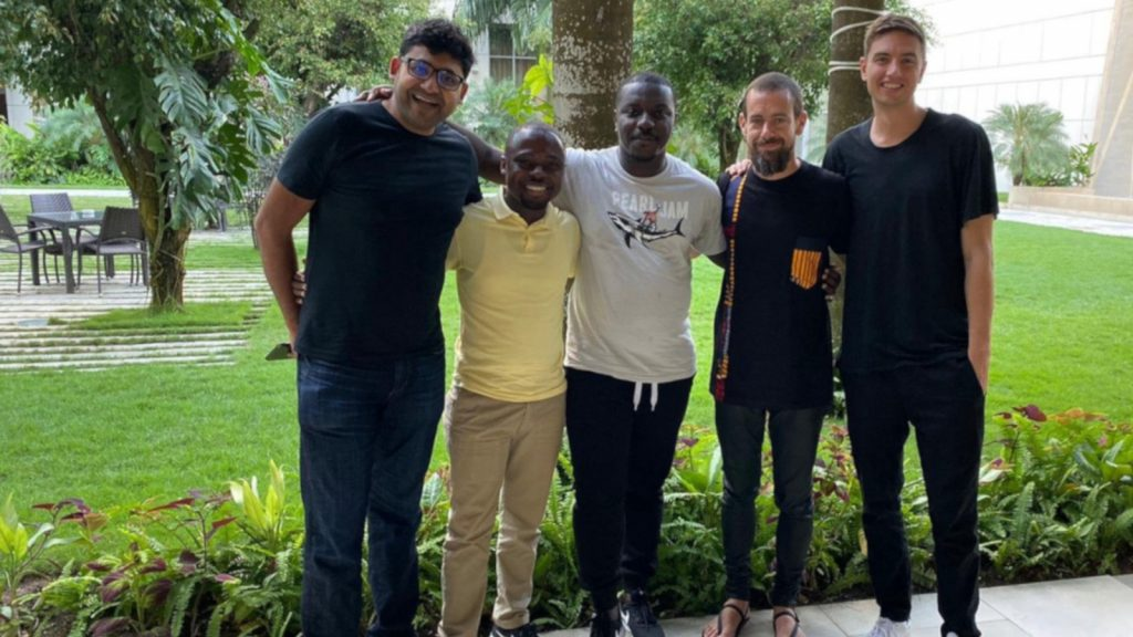 Featured image: Bit Sika founder and CEO Atsu Davoh (middle), Bit Sika head of growth Samuel Boahen (second from left) with Twitter co-founder and CEO Jack Dorsey (second from right) together with members of Twitter's team (Opentraction)