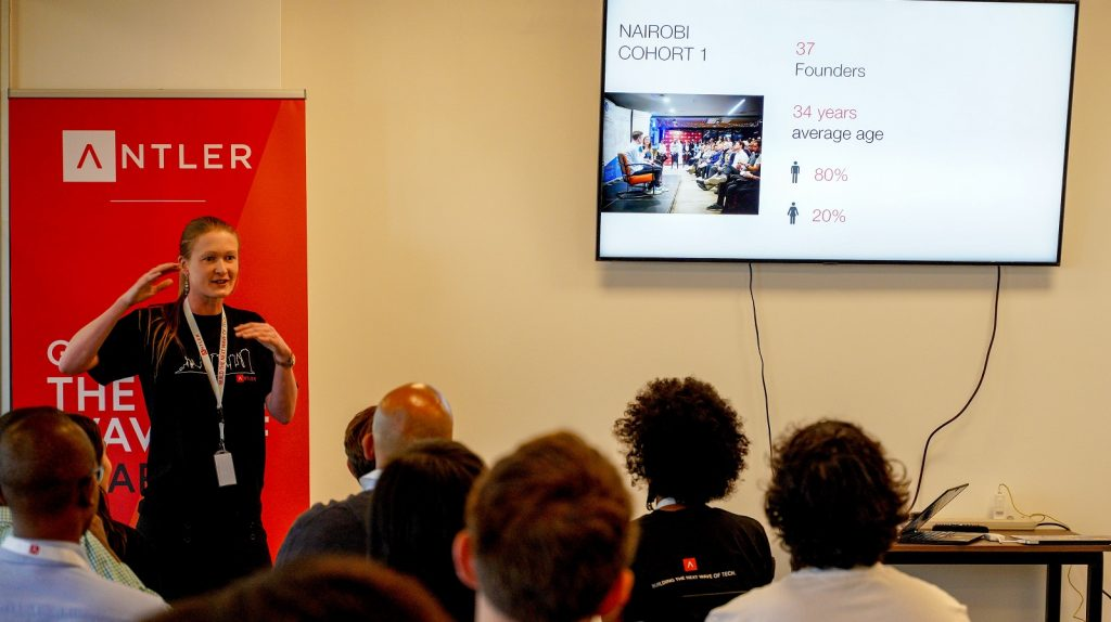 Featured image: Antler partner Marie Nielsen addressing a room full of founders from the programme (Supplied)